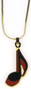 Harmony Jewellery Eighth Note Necklace in Gold and Red