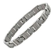 Men's Stainless Steel and Tungsten Link Bracelet, 21.6cm