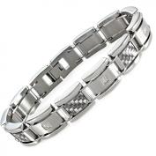 Men's Diamond Accent Stainless Steel and Grey Carbon Fibre Bracelet, 21.6cm