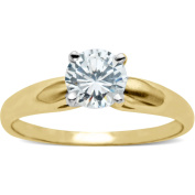 .75 Carat Cubic Zirconia Round Solitaire Engagement Ring in 10kt Yellow Gold, Size 7