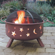 Landmann Big Sky Steel Fire Pit with Cover, Stars & Moons, Georgia Clay