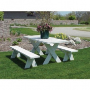 Dura-Trel 1.83m Traditional White Picnic Table With Benches