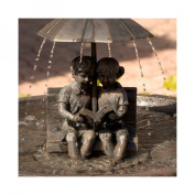 Smart Solar Umbrella Series Boy and Girl Reading on a Bench Solar Fountain