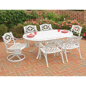 Home Styles Biscayne 7pc Outdoor Dining Set with 2 Swivel Chairs and 4 Arm Chairs, White