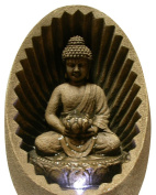 Alpine Buddha Fibreglass Tabletop Fountain with LED Lights