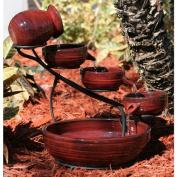 Smart Solar Red Lava Solar Ceramic Cascade Fountain