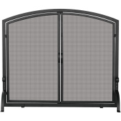 UniFlame Single-Panel Wrought Iron Screen with Doors, Medium, Black