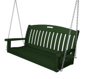 POLYWOOD® 1.22m Recycled Plastic Nautical Porch Swing - Hunter Green