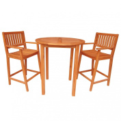 Whitewood Round Bar Height Patio Table with 2 Barstools