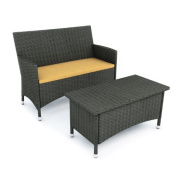 Sonax Cascade All Weather Wicker Loveseat and Coffee Table Set