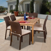 Luxemburg Teak and All Weather Wicker Dining Set - Seats 6