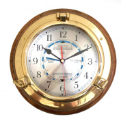 Bey-Berk International Brass Porthole Tide and Time Clock on Oak T.P.