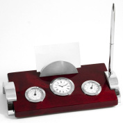 Bey-Berk Rosewood and Metal Weather Station with Card Holder Clock and Pen