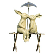 SPI Home Bunny Lovers on Bench Statue