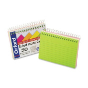 Esselte Pendaflex Corporation Spiral Bound Index Cards,Ruled,Perforated,3''x5'',Neon