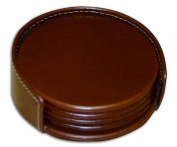 Dacasso A3245 Rustic Leather 4 Round Coaster Set with Holder