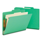 Smead 13702 Top Tab Classification Folder with 1 Divider 4-Section Green