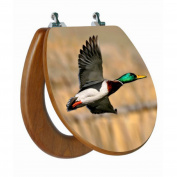 Topseat 3D Upland Series Round Mallard Duck Flying Toilet Seat with CP hinges