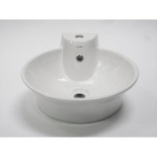EAGO BA121 Round Ceramic Above Mount Bath Sink with Single Faucet Hole - White