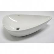 EAGO BA138 White Tear Drop Ceramic Above Mount Bath Sink - White