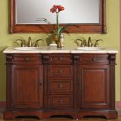 Silkroad Exclusive Olivia 58'' Double Sink Bathroom Vanity Cabinet