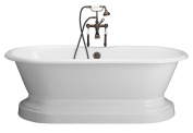 Barclay Cast Iron Double Roll Top Tub 170.2cm and Base Combination with No Faucet Holes