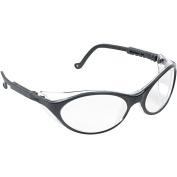 Uvex Bandit Wraparound Safety Glasses, Black Nylon Frame, Clear Lens