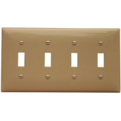 Morris Products 4 Gang Lexan Wall Plates for Toggle Switch in Ivory