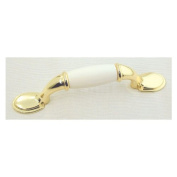 Ultra 3in. Polished Brass & White Traditions High Density Zinc With Plastic Pull H