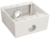 Weatherproof Boxes - Two Gang 30.5 Cubic Inch - 3 Outlet Holes 1.3cm . White