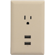 RCA Wall Plate with 2 USB Ports, Almond