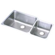 Elkay ELUH3520R Gourmet Lustertone Stainless Steel Double Bowl Undermount Sink
