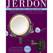Jerdon 20cm 2-Sided Swivel Halo-Lighted Wall Mount Mirror with 5x Magnification, 36cm Extension, Bronze