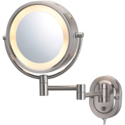 Jerdon HL65N 20cm Lighted Wall Mount Makeup Mirror with 5x Magnification, Nickel Finish