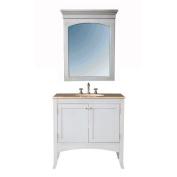 Stufurhome GM-6119-36-TR 36 in. Alyssa Single Sink Vanity with Travertine Marble Top and Mirror