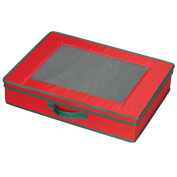 Household Essential 545RED Holiday Tabletop Chest Red with Green trim
