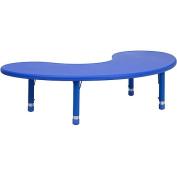 Adjustable Height Half-Moon Plastic Activity Table, Blue