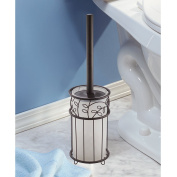 InterDesign Twigz Toilet Bowl Brush and Holder - Bathroom Cleaning Storage, Clear/Bronze