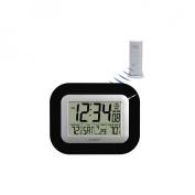 La Crosse Technology Digital Atomic Wall Clock with Temperature, Black