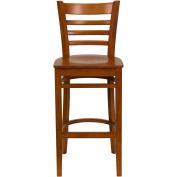 Flash Furniture XU-DGW0005BARLAD-CHY-GG Ladder Back Wood Bar Stool with Cherry Finish