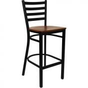Flash Furniture XU-DG697BLAD-BAR-CHYW-GG Black Ladder Back Metal Bar Stool with Cherry Wood Seat