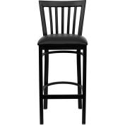 Flash Furniture XU-DG6R8BSCH-BAR-BLKV-GG Black School House Back Metal Bar Stool with Black Vinyl Seat