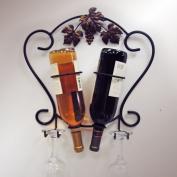 J & J Wire 2-Bottle Wine & Glass Holder