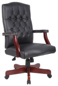 Boss High Back Button Tufted Executive Mahogany Wood Finish Chair - B905 - Oxblood Vinyl