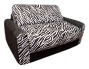 Fun Furnishings Zebra Sofa Sleeper w/ Pillows in Black/ White