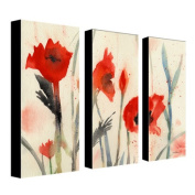 "Trademark Fine Art ""Poppies"" Canvas Art by Sheila Golden 3-Panel Set"