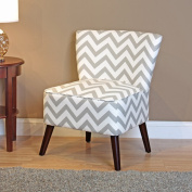 Kinsley Chevron Accent Chair, Grey and White