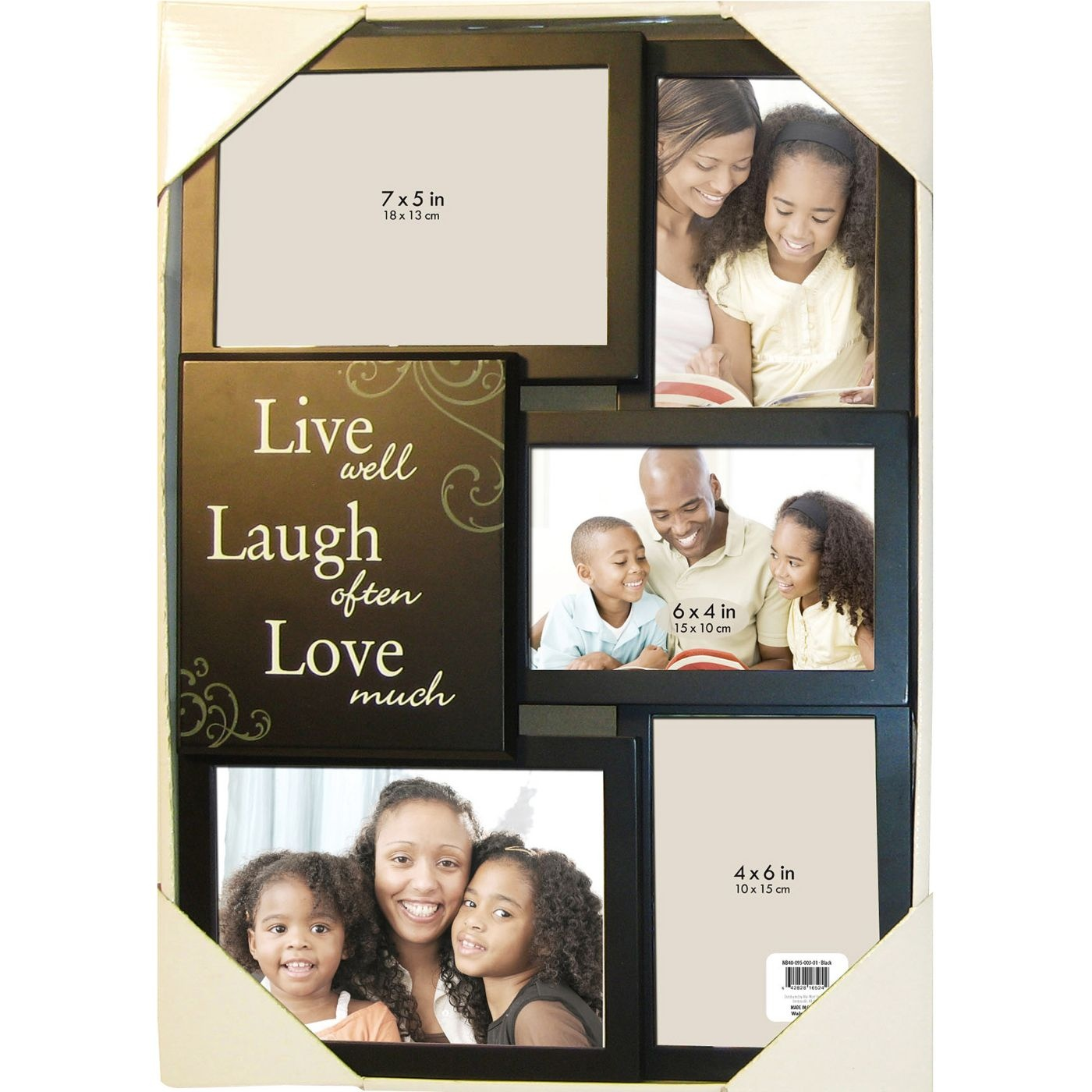 5 Opening Live Laugh Love Collage Picture Frame Black By Online