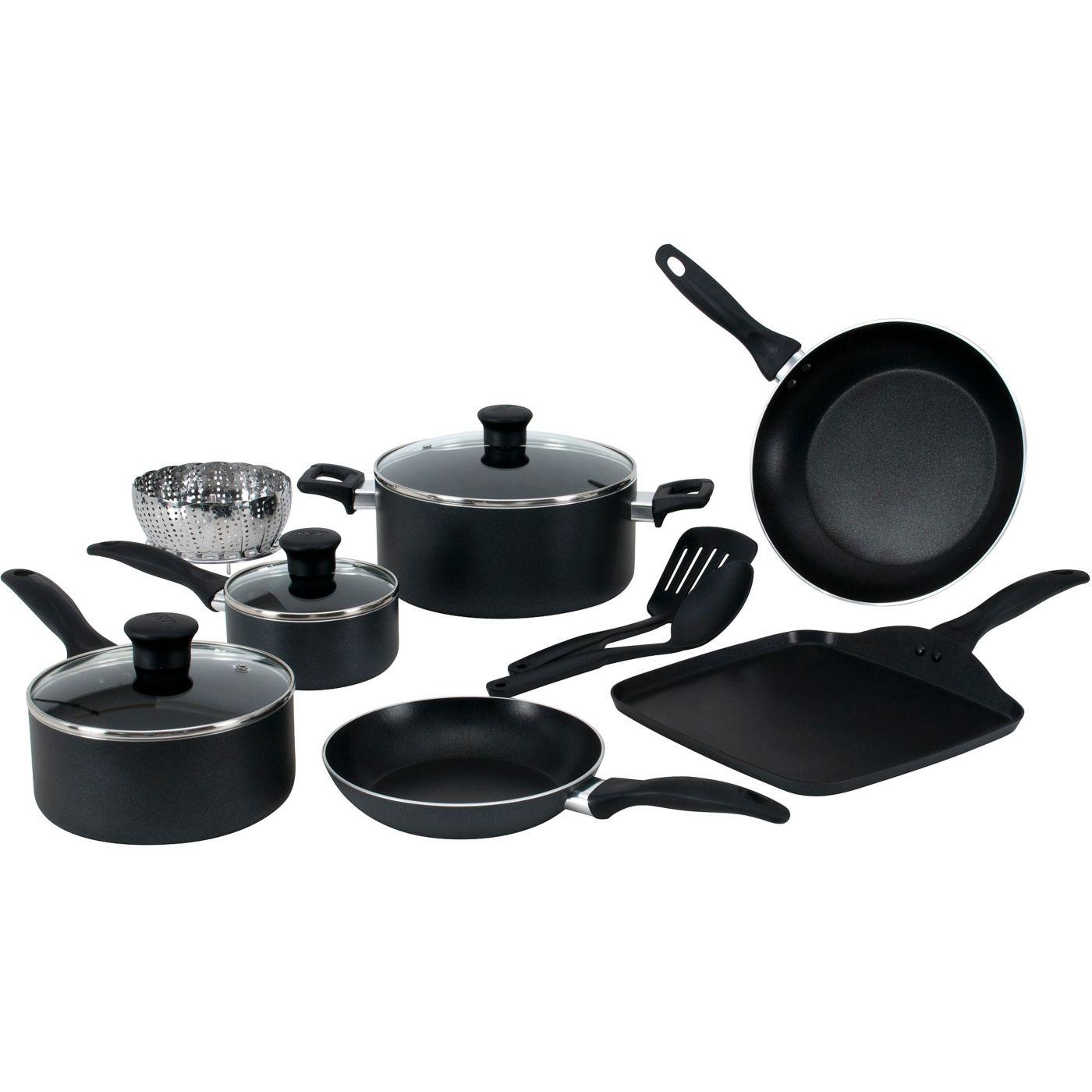 T-fal, Easy Care Nonstick, B145SA, Dishwasher Safe Cookware, 12 Pc  Set,  Black