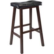 WinsomeTrading 94069 60cm Cushion Saddle Seat Stool, Black, Faux Leather, RTA - Antique Walnut